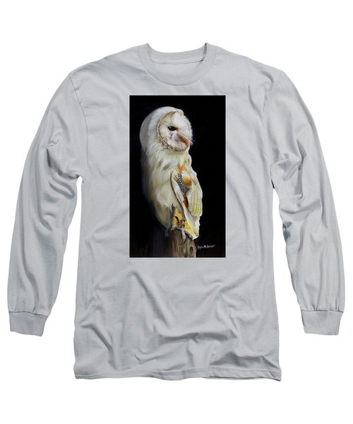 Long Sleeve T-Shirt featuring the painting Beautiful Barn Owl by Phyllis Beiser