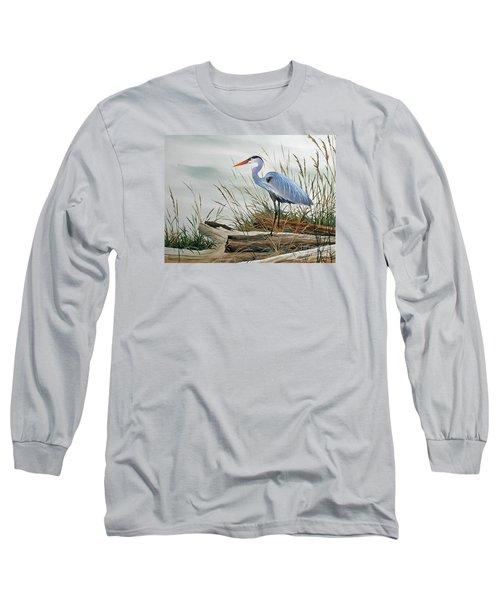 Beautiful Heron Shore Long Sleeve T-Shirt by James Williamson