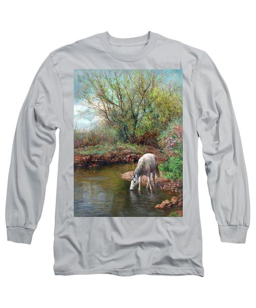 Beautiful White Horse And Enchanting Spring Long Sleeve T-Shirt
