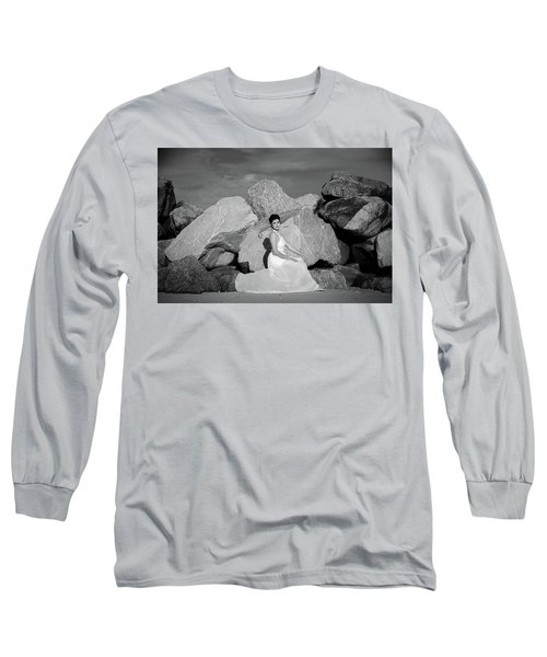 Beauty On The Rocks Long Sleeve T-Shirt by Stefanie Silva