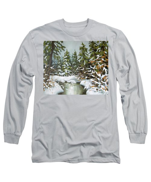 Long Sleeve T-Shirt featuring the painting Behind The River Bend by Inese Poga