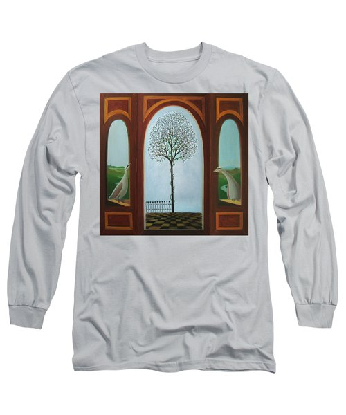 Long Sleeve T-Shirt featuring the painting Belgian Triptyck by Tone Aanderaa