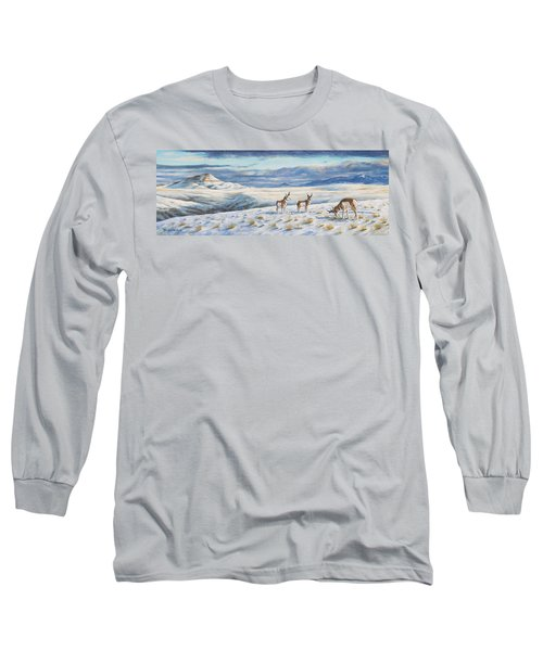 Long Sleeve T-Shirt featuring the painting Belt Butte Winter by Kim Lockman