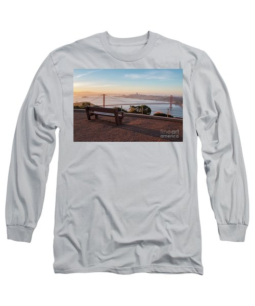 Bench Overlooking Downtown San Francisco And The Golden Gate Bri Long Sleeve T-Shirt