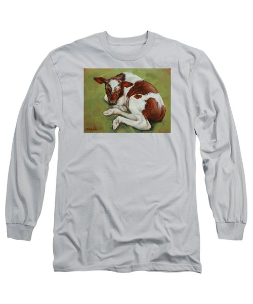 Long Sleeve T-Shirt featuring the painting Bendy New Calf by Margaret Stockdale