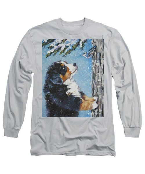 bernese Mountain Dog puppy and nuthatch Long Sleeve T-Shirt by Lee Ann Shepard