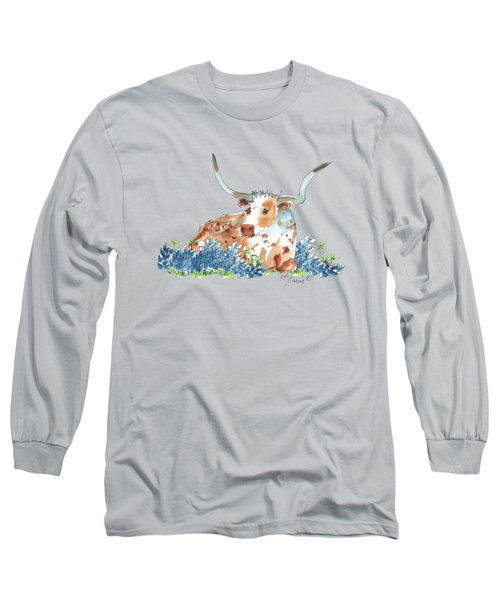 Bessie In The Bluebonnets Watercolor Painting By Kmcelwaine Long Sleeve T-Shirt