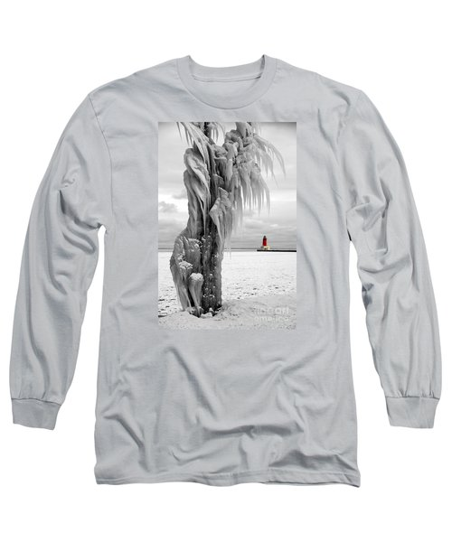 Long Sleeve T-Shirt featuring the photograph Beyond The Ice Reaper's Grasp -  Menominee North Pier Lighthouse by Mark J Seefeldt