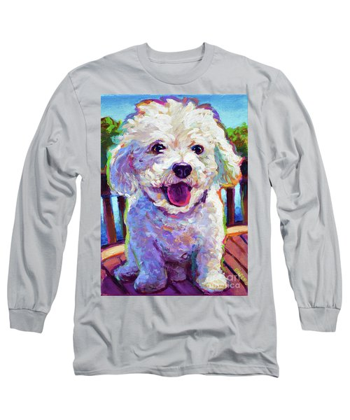 Long Sleeve T-Shirt featuring the painting Bichon Frise by Robert Phelps