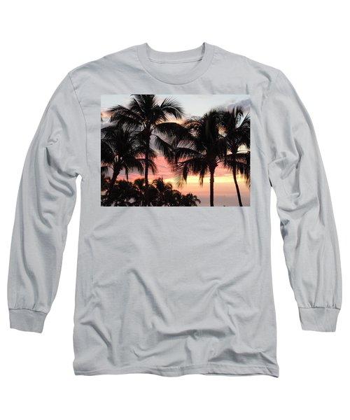 Big Island Sunset 1 Long Sleeve T-Shirt by Karen J Shine