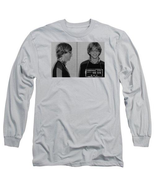 Bill Gates Mug Shot Horizontal Black And White Long Sleeve T-Shirt by Tony Rubino