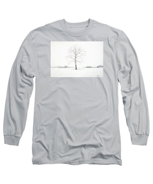 Birch Tree Upon The Winter Plain Long Sleeve T-Shirt