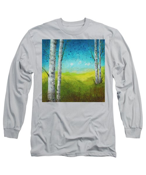 Birches In Green Long Sleeve T-Shirt