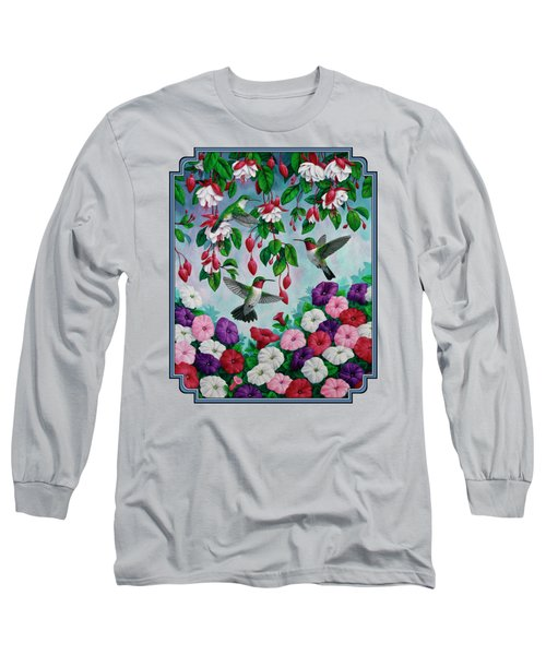 Bird Painting Hummingbird And Spring Flowers Long Sleeve T-Shirt