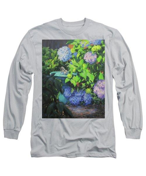 Birdbath And Blossoms Long Sleeve T-Shirt by Karen Ilari