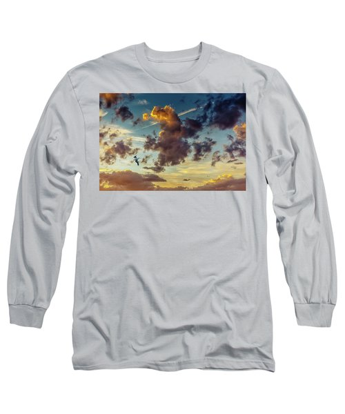 Birds In Flight At Sunset Long Sleeve T-Shirt