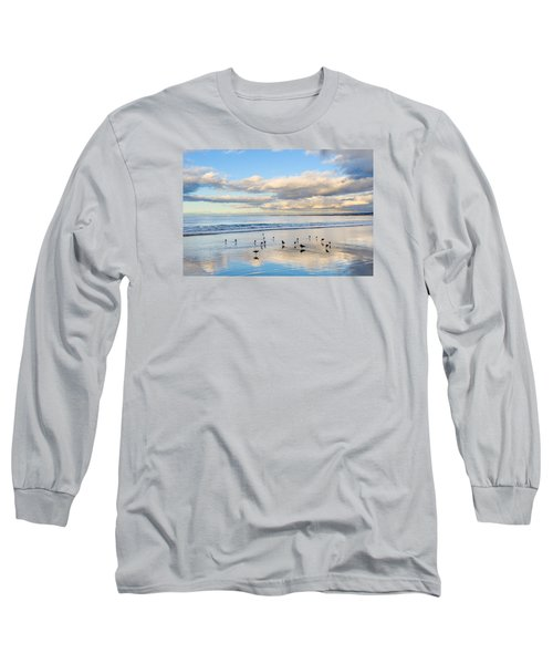 Birds On The Beach Long Sleeve T-Shirt by Derek Dean