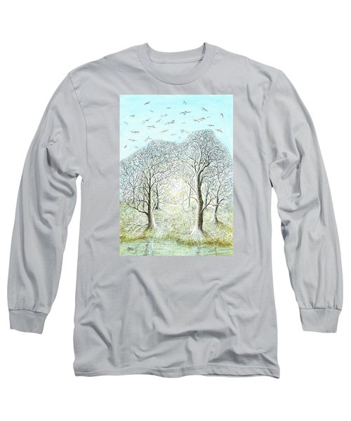Birds Swirl Long Sleeve T-Shirt by Charles Cater