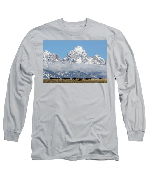 Bison In The Tetons Long Sleeve T-Shirt