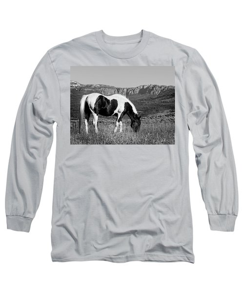 Black And White Horse Grazing In Wyoming In Black And White  Long Sleeve T-Shirt