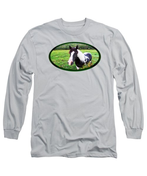 Black And White Horse-natural Setting Long Sleeve T-Shirt