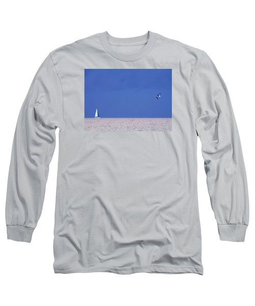 Black And White Sailboat And Seagull Long Sleeve T-Shirt