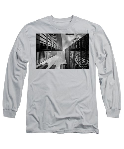 Long Sleeve T-Shirt featuring the photograph Black And White Skyscraper by MGL Meiklejohn Graphics Licensing