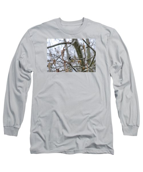 Long Sleeve T-Shirt featuring the photograph Black-capped Chickadee 20120321_38a by Tina Hopkins