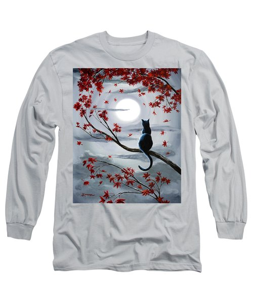 Black Cat In Silvery Moonlight Long Sleeve T-Shirt by Laura Iverson