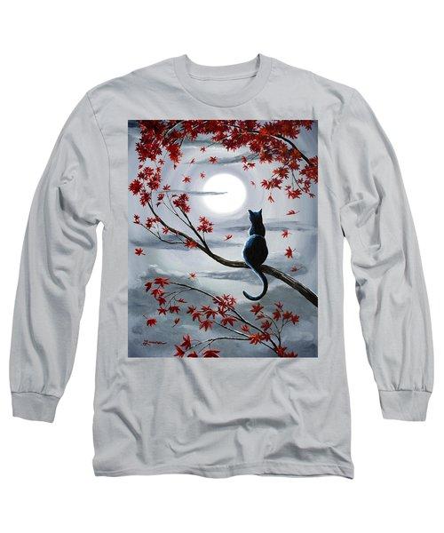 Black Cat In Silvery Moonlight Long Sleeve T-Shirt