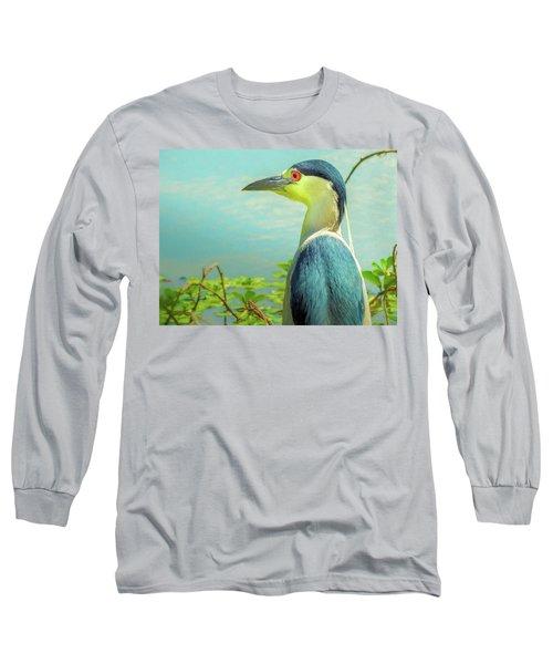 Black-crowned Night Heron Digital Art Long Sleeve T-Shirt