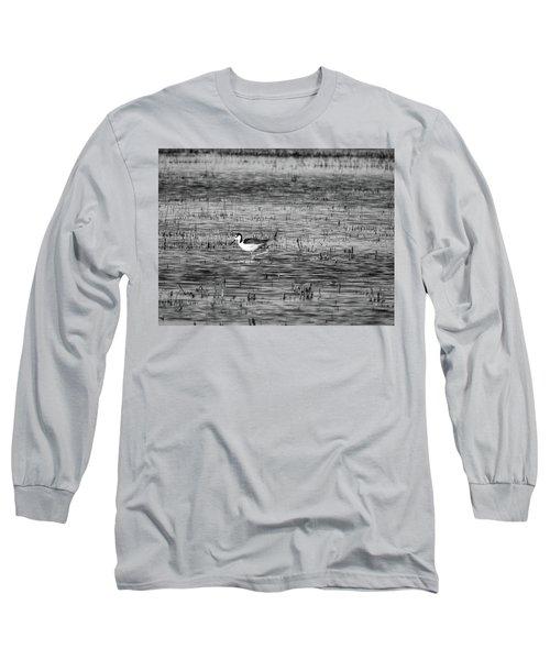 Black-necked Stilt Monochrome  Long Sleeve T-Shirt