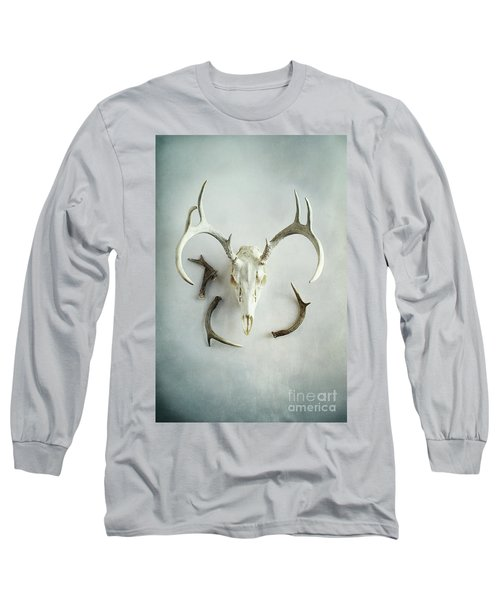 Long Sleeve T-Shirt featuring the photograph Bleached Stag Skull by Stephanie Frey