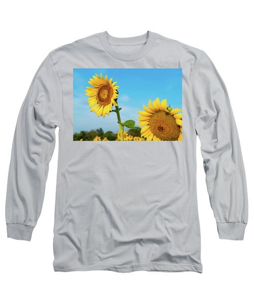 Blooming Sunflower In Blue Sky Long Sleeve T-Shirt