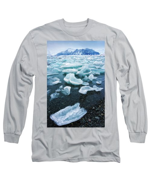 Blue And Turquoise Ice Jokulsarlon Glacier Lagoon Iceland Long Sleeve T-Shirt by Matthias Hauser