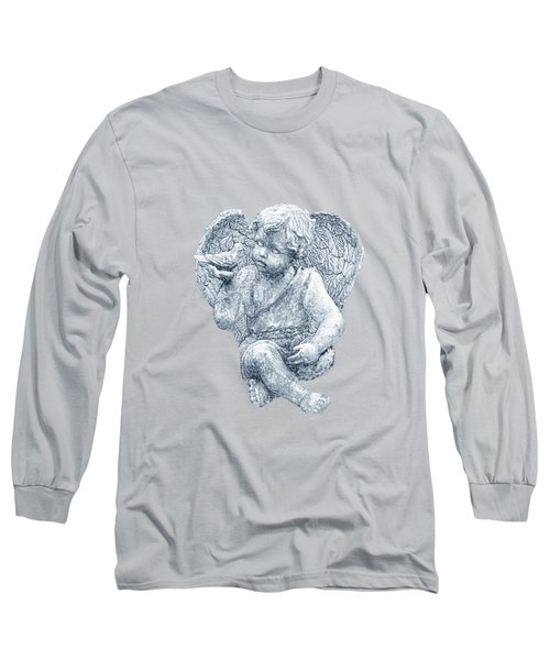Blue Angel Cutout Long Sleeve T-Shirt by Linda Phelps
