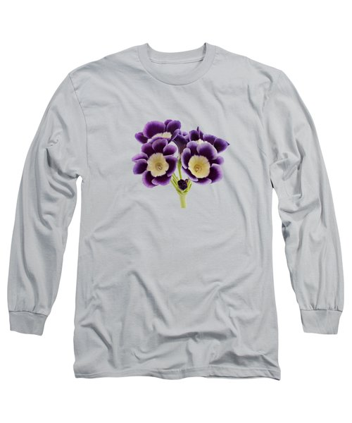Long Sleeve T-Shirt featuring the photograph Blue Auricula On A Transparent Background by Paul Gulliver
