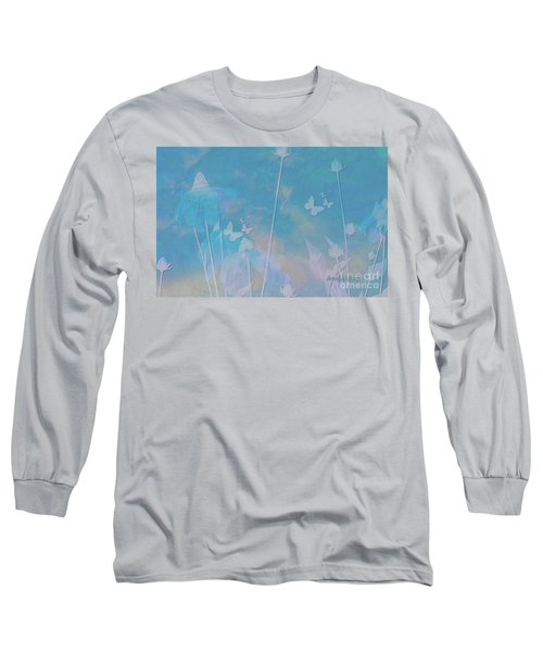 Blue Daisies And Butterflies Long Sleeve T-Shirt by Sherri's Of Palm Springs