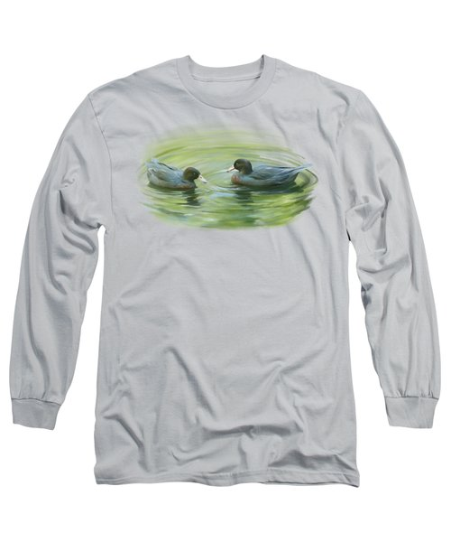 Long Sleeve T-Shirt featuring the painting Blue Ducks  by Ivana Westin