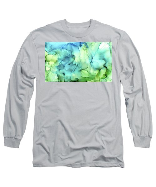 Blue Green Abstract Ink Painting Long Sleeve T-Shirt