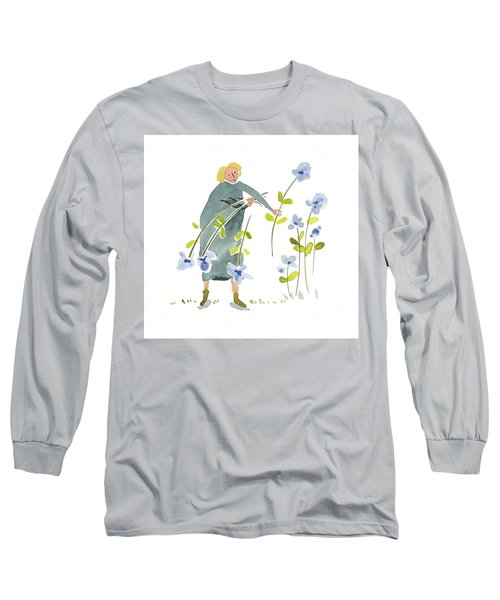 Long Sleeve T-Shirt featuring the painting Blue Harvest by Leanne WILKES