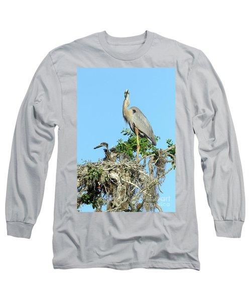 Long Sleeve T-Shirt featuring the photograph Blue Heron Series Baby 2 by Deborah Benoit