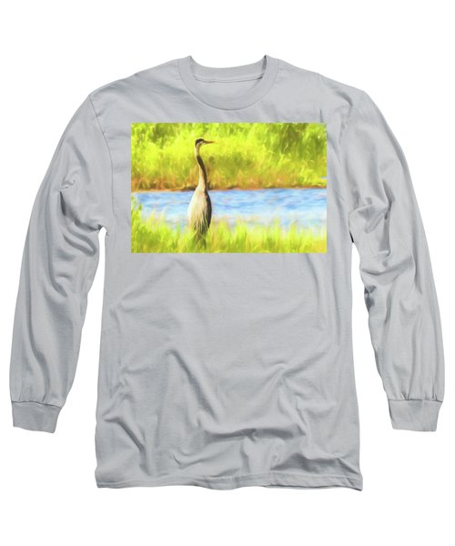 Blue Heron Standing Tall And Alert Long Sleeve T-Shirt