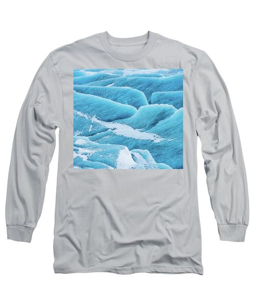 Long Sleeve T-Shirt featuring the photograph Blue Ice Svinafellsjokull Glacier Iceland by Matthias Hauser