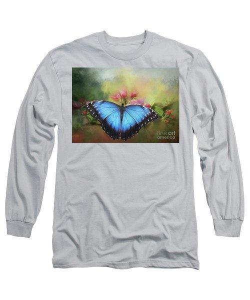 Blue Morpho On A Blossom Long Sleeve T-Shirt by Eva Lechner