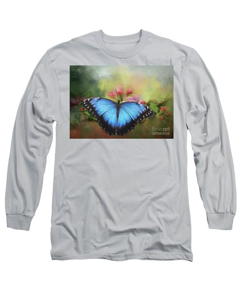 Blue Morpho On A Blossom Long Sleeve T-Shirt