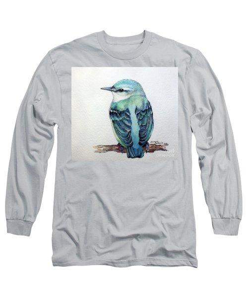 Blue Nuthatch Long Sleeve T-Shirt by Marcia Baldwin