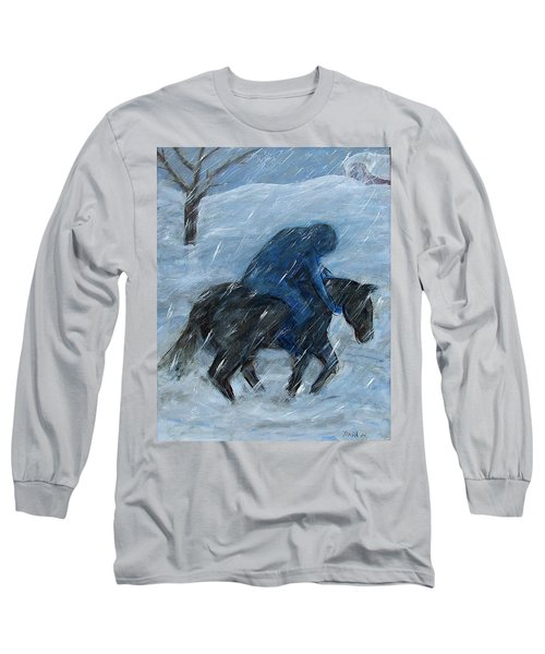 Blue Rider On Horse Long Sleeve T-Shirt