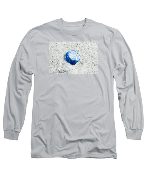 Long Sleeve T-Shirt featuring the painting Blue Seashell By Sharon Cummings by Sharon Cummings