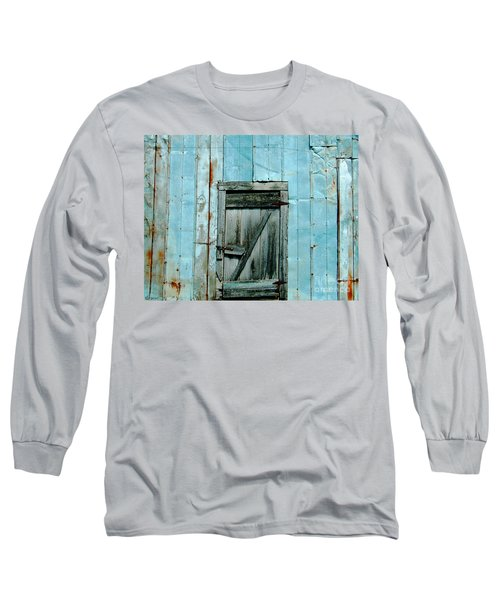 Blue Shed Door  Hwy 61 Mississippi Long Sleeve T-Shirt